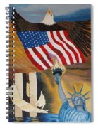 God Bless America Hand Embroidery Spiral Notebook