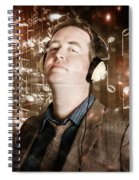 Groovy Retro Clubbing Guy At A Silent Trance Rave Spiral Notebook