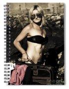 Grunge Babe On Holidays Spiral Notebook