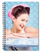 Happy 60s Pinup Housewife On Blue Ironing Board Spiral Notebook