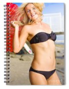 Happy And Excited Woman Jumping At Beach Spiral Notebook