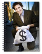 Happy Business Man Smiling With Money Bag Spiral Notebook