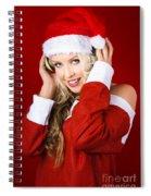 Happy Dj Christmas Girl Listening To Xmas Music Spiral Notebook