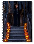 Haunted House With Lit Pumpkins And Demon Spiral Notebook