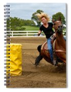 Horse And Rider In Barrel Race Spiral Notebook
