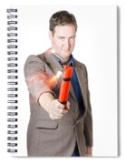 Hostile Male Office Worker Holding Flaming Bomb Spiral Notebook