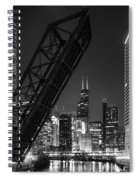 Kinzie Street Railroad Bridge At Night In Black And White Spiral Notebook