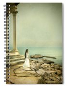 Lady In White By The Sea Spiral Notebook