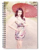 Lady With Red Parasol Spiral Notebook
