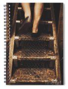Legs Of A Bushwalking Man Climbing Wooden Stairs Spiral Notebook