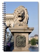 Lion Sculpture On Chain Bridge In Budapest Spiral Notebook