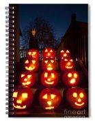 Lit Pumpkins With Demon On Halloween Spiral Notebook