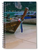 Longtail Boats Moored On The Beach Spiral Notebook