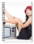 Lovely Asian Pinup Girl Posing On Vintage Tv Set Spiral Notebook