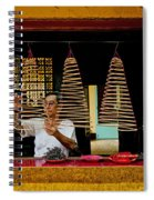 Man Lighting Incense In Chinese Temple Vietnam Spiral Notebook
