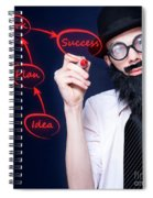 Marketing Business Man Drawing Success Diagram Spiral Notebook