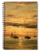 Mesdag's Sunset At Scheveningen -- A Fleet Of Shipping Vessels At Anchor Spiral Notebook