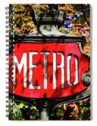 Metro Sign, Paris, France Spiral Notebook
