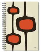 Mod Pod Two Orange With Brown Spiral Notebook