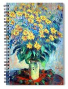 Monet's Jerusalem  Artichoke Flowers Spiral Notebook