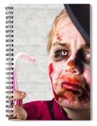 Monster Holding Sad Toothbrush. Rotting Teeth Spiral Notebook