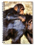 Mother Chimpanzee With Baby On Her Back Spiral Notebook