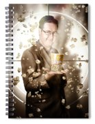 Movie Man Holding Cinema Popcorn Bucket At Film Spiral Notebook