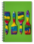 Multicolored Paint Brushes On Green Background Spiral Notebook