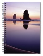 Needles Silhouetted Cannon Beach Oregon Spiral Notebook