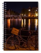Night Lights On The Amsterdam Canals. Holland Spiral Notebook