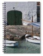 Typical Mediterranean Fishermen Boat And House In Minorca Island - Old Fishermen Villa Spiral Notebook