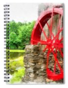 Old Grist Mill Vermont Red Water Wheel Spiral Notebook
