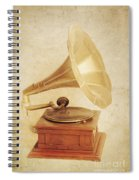 Old Vintage Gold Gramophone Photo. Classical Sound Spiral Notebook