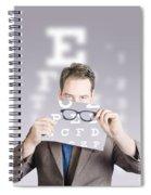 Optometrist Or Vision Doctor Holding Eye Glasses Spiral Notebook