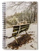 Park Bench In The Snow Covered Park Overlooking Lake Spiral Notebook