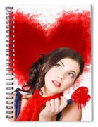 Photo Of Romantic Woman Holding Heart Shape Candy Spiral Notebook