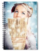 Pin-up Woman Cleaning Up In Cold Blue Winter Snow Spiral Notebook