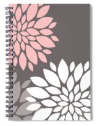 Pink Grey White Peony Flowers Spiral Notebook