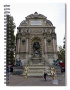 Place Saint-michel Statue And Fountain In Paris France Spiral Notebook