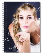 Playful Bride Blowing Bubbles At Wedding Reception Spiral Notebook
