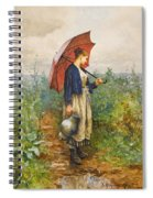 Portrait Of A Woman With Umbrella Gathering Water Spiral Notebook