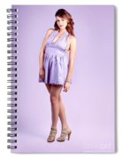 Pretty Brunette Pin Up Woman In Purple Dress Spiral Notebook