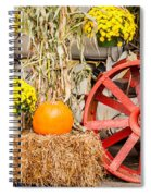 Pumpkins Next To An Old Farm Tractor Spiral Notebook