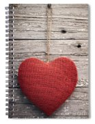 Red Burlap Heart On Vintage Table Spiral Notebook