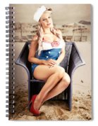 Retro Blond Beach Pinup Model With Elegant Look Spiral Notebook