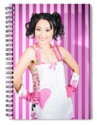 Retro Cleaning Service Maid With Smile Spiral Notebook