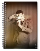 Retro Photographer Man Taking Photo With Camera Spiral Notebook
