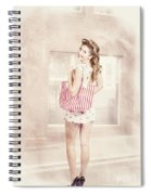 Retro Pin Up Woman Carrying Vintage Shopping Bag Spiral Notebook