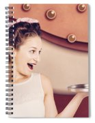 Retro Pinup Girl Holding Food And Drinks Tray Spiral Notebook