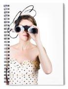 Retro Woman Looking Through Binoculars Spiral Notebook